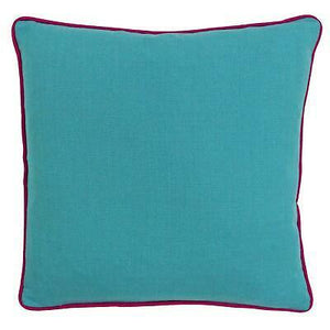 Aqua Cushion with Fuchsia Trim