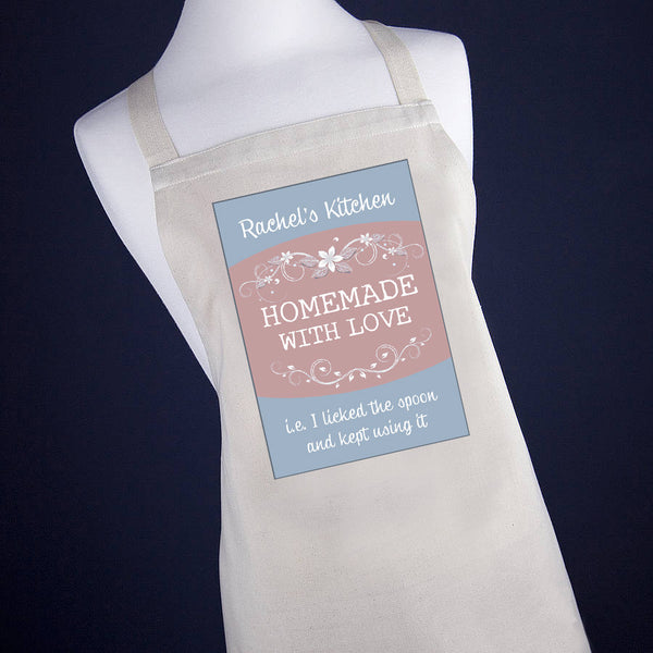 Personalised Homemade With Love Apron - Blueberry Blue