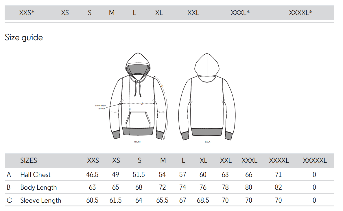 Fighttribe hoodie size chart