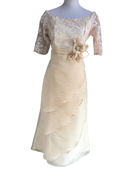 Beige Filipiniana Dress