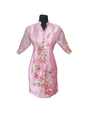 Pink Floral Barong Dress Sale