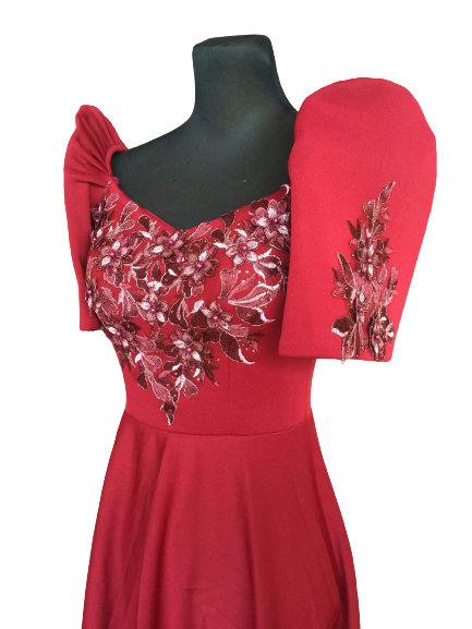 Neoprene Red Filipiniana Mid Gown - Rose MR11