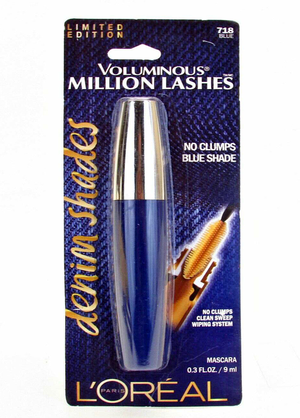 Loreal Limited Edition Voluminous Million Lashes Denim Shades Mascara # 718 Blue