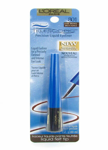 L'Oreal Telescopic Precision Liquid Eyeliner, Waterproof #801  Dark Brown
