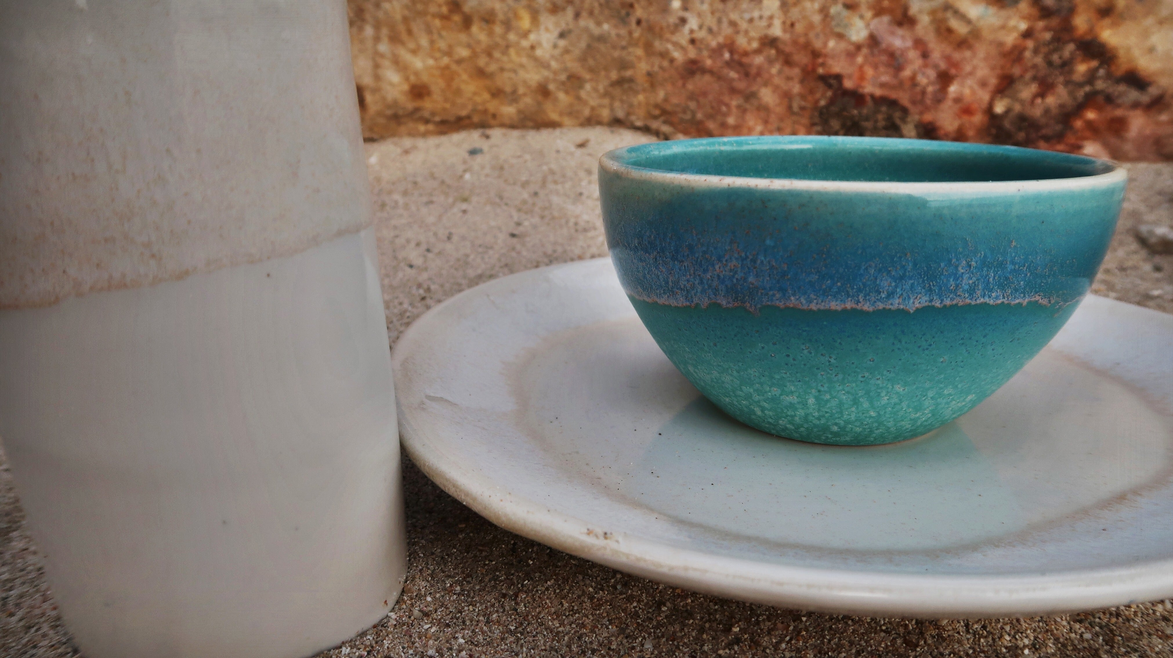 Ceramic Round Cereal Bowl in Ocean Glaze