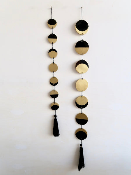 Vertical Moon Phase Wall Resin Hanging with Tassel