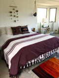Oaxacan Tassel Blanket Burgandy and White