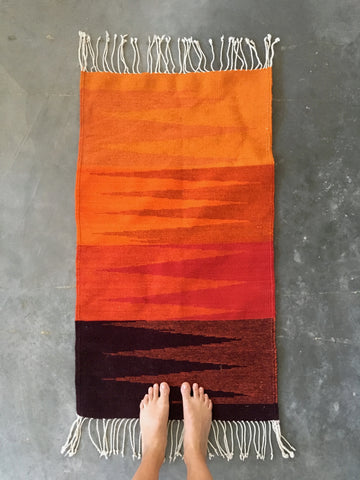 Orange Zigzag Oaxacan Rug