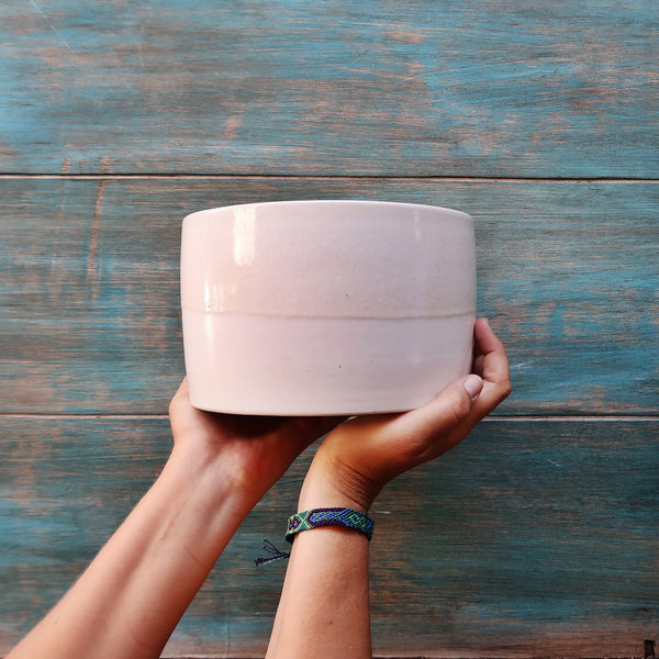 Ceramic Cylinder Salad Bowl in Sand Glaze