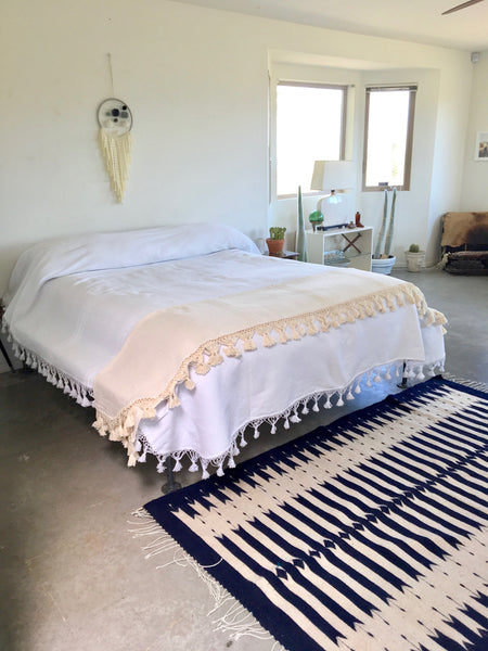 Oaxacan Tassel Blanket White Cotton