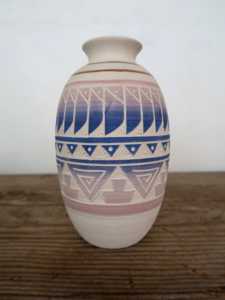 Ceramic Vase Hand Carved in Mexico