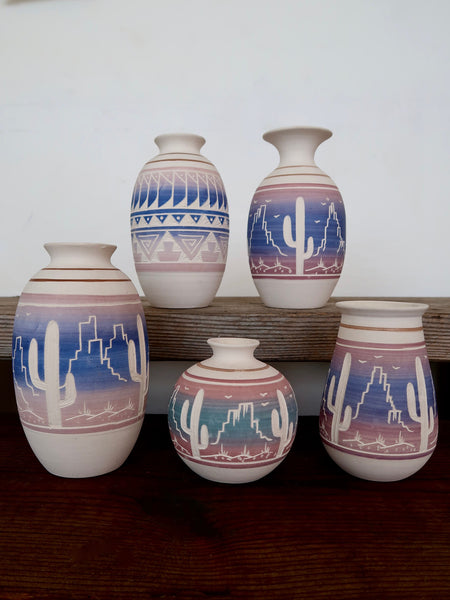 Ceramic Vases Hand Carved in Mexico Pink and Blue Sunset Colors