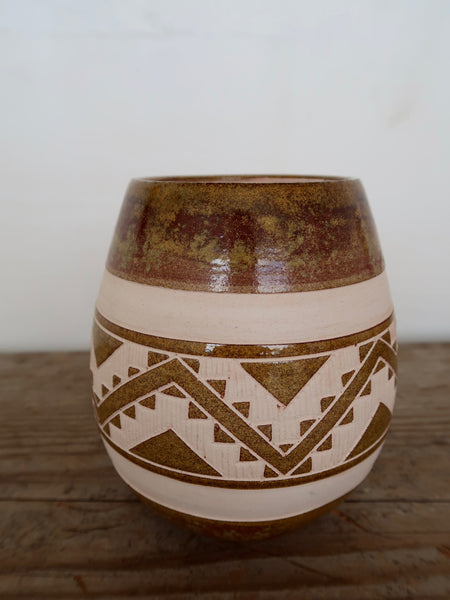 Aztec Hand Carved Ceramic Vase
