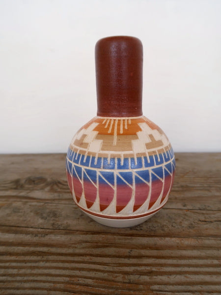 Hand Carved Ceramic Bud Vase in Sunset Colors