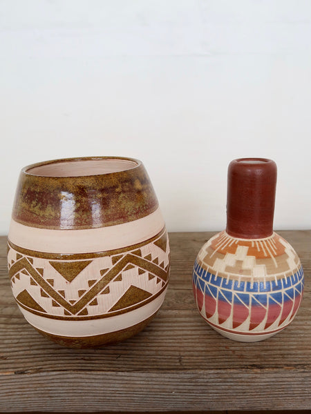 Ceramic Hand Made Vase in Brown and Cream
