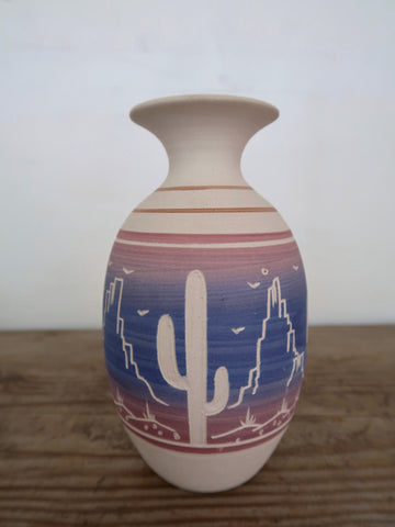 Ceramic Vase Hand Carved in Mexico Cactus Mountain