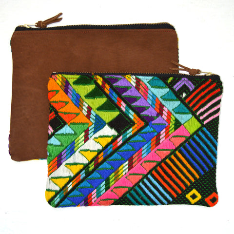 Huipil Clutch with Suede Back