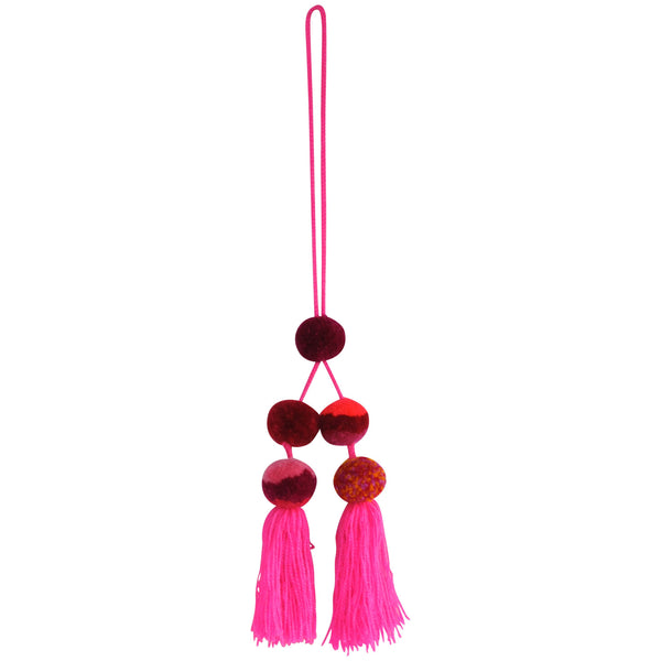 Medium Pompom Cluster - Neon Pink and Multi Color Pompoms