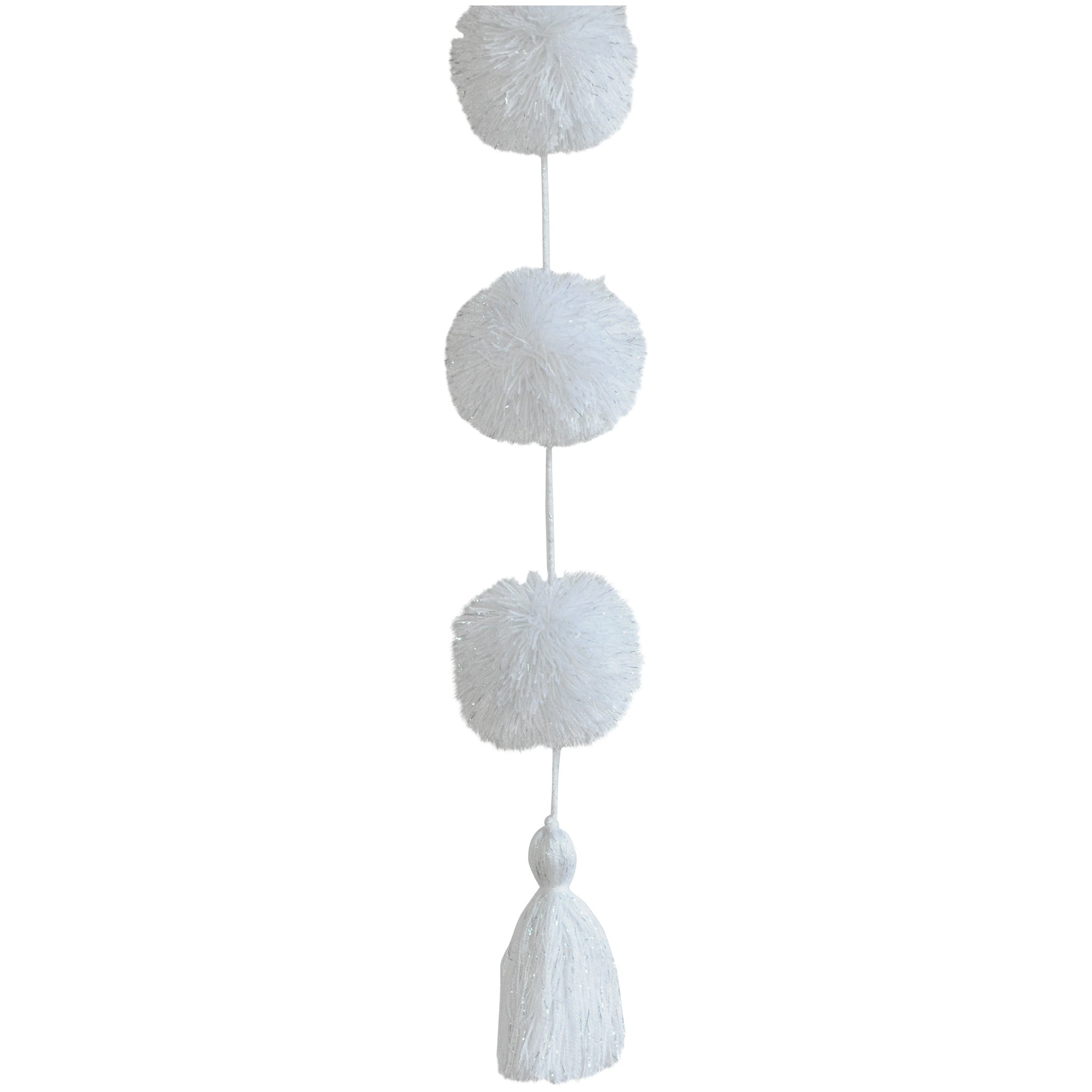 "Pompom Hanging - 36"" - White with Metallic Silver"