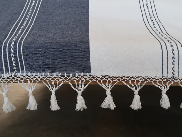 Oaxacan Tassel Blanket Navy and White