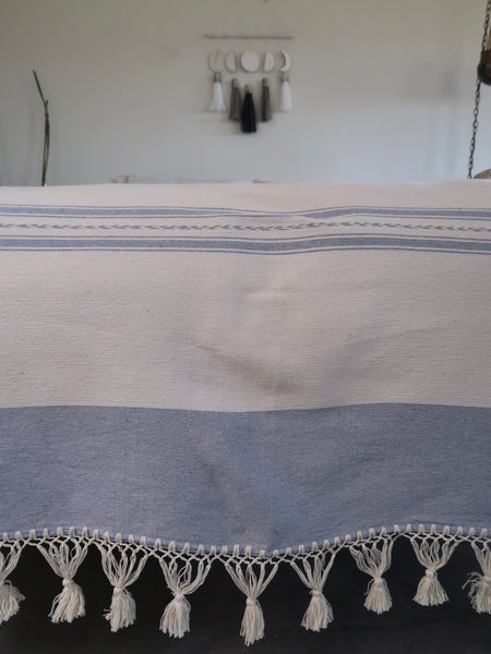 Oaxacan Tassel Blanket Dove Grey and Natural