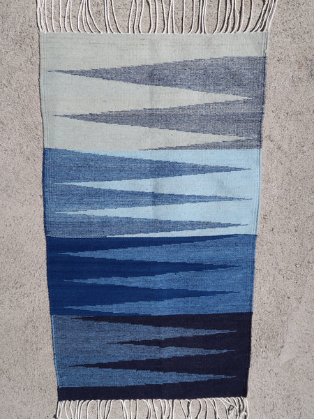 indigo dyed hand woven rug zig zag pattern navy blue to cream