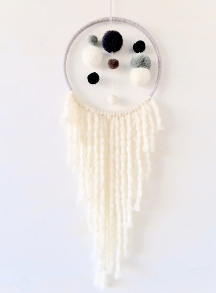 Pompom Dream Catcher Wall Hanging in Grey Beige and White