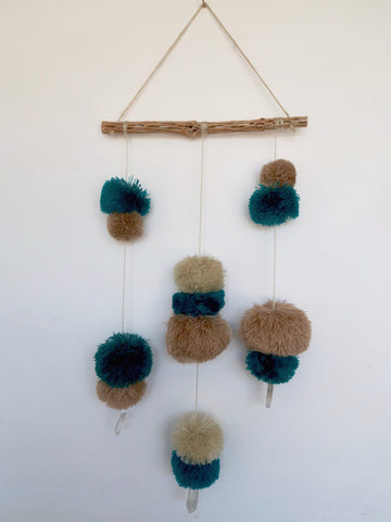 Pompom Wall Hanging with Crystals