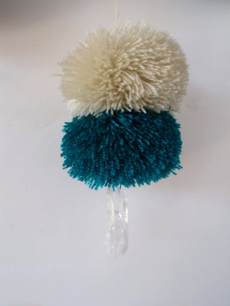 Pompom Detail in Sand and Jade with Crystals