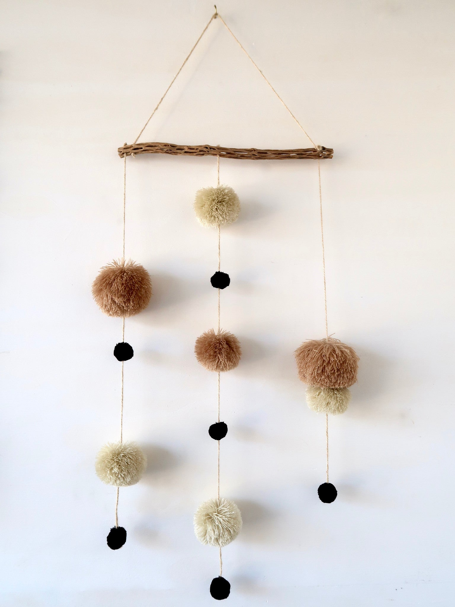 Sand Camel Black Yarn Pompom Wall Hanging
