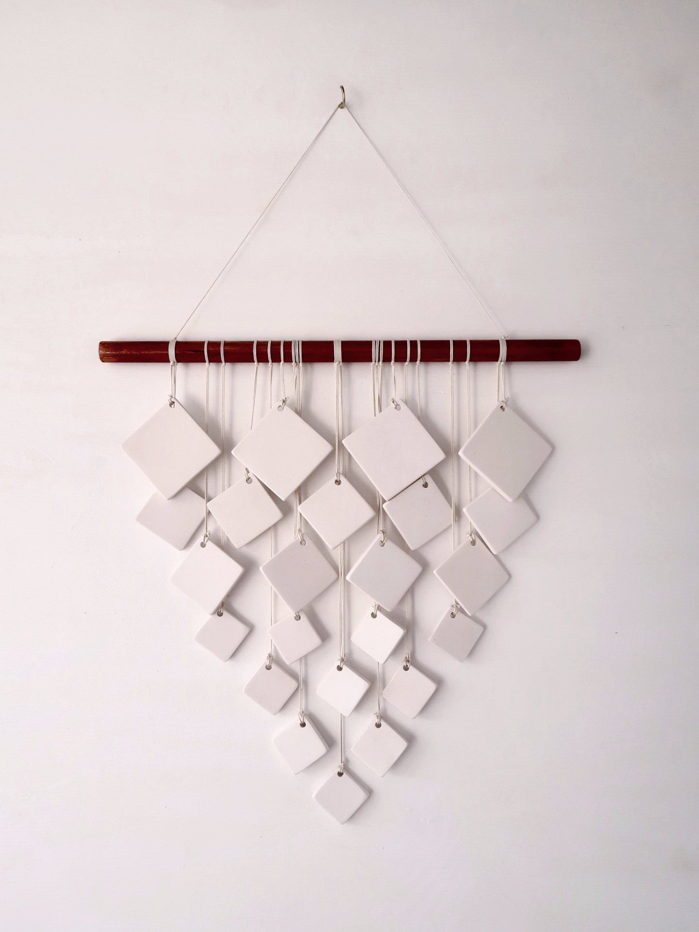 Square V Resin Wall Hanging in White