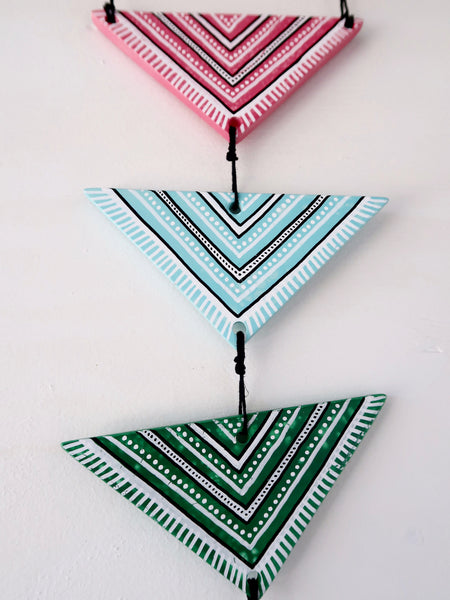 Hand Painted Tribal Triangle Resin Wall Hanging
