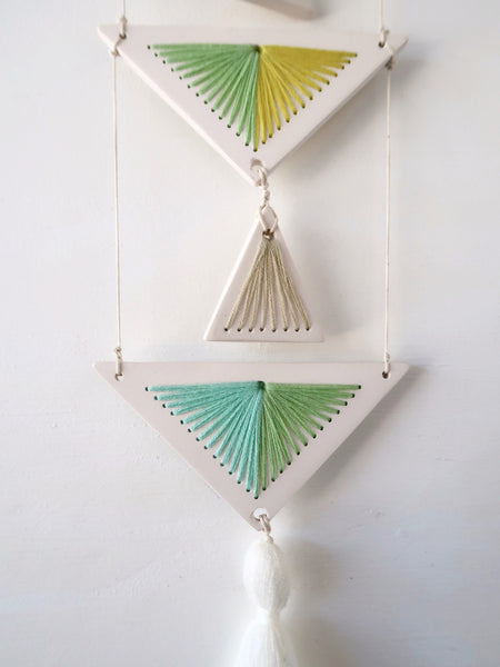 Yarn and Resin Wall Hanging with Tassel