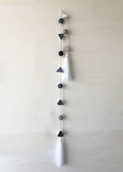 Grayscale Geo Resin Wall Hanging with Tassels