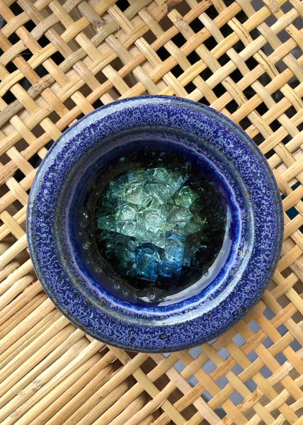 Glass Bottom Ceramic Jewelry Dish