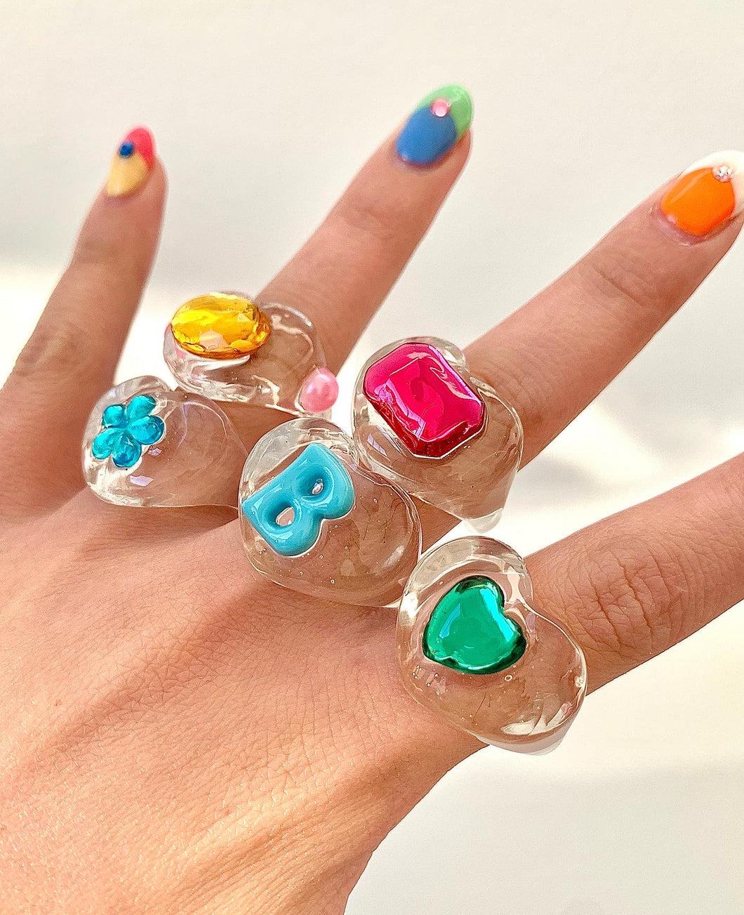 CLEAR RAINBOW LUCKY RING