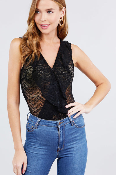 My Head and Heart Sleeveless Surplice W/ruffle Lace Bodysuit