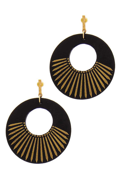 Diva Chic Wooden Circle Drop Earring