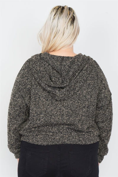 Charcoal All Over Athletic Zip Sweater with Hoodie