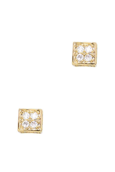 Secret Box Square Stone Stud Earring