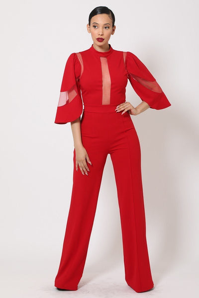 Miss CEO Sheer Mesh Contrast Bodice Jumpsuit
