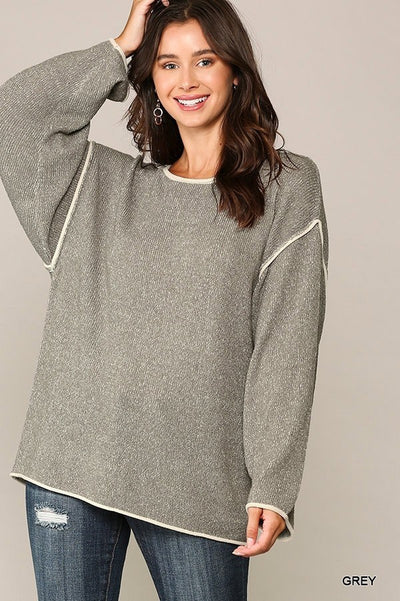 Piping Hot Two-Tone Round Neck Sweater Top