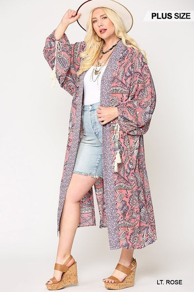 Leave Without You Open Front Kimono With Side Slits