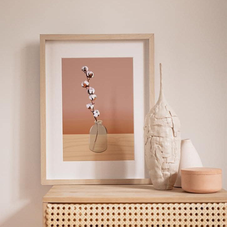 vase with cotton branch poster