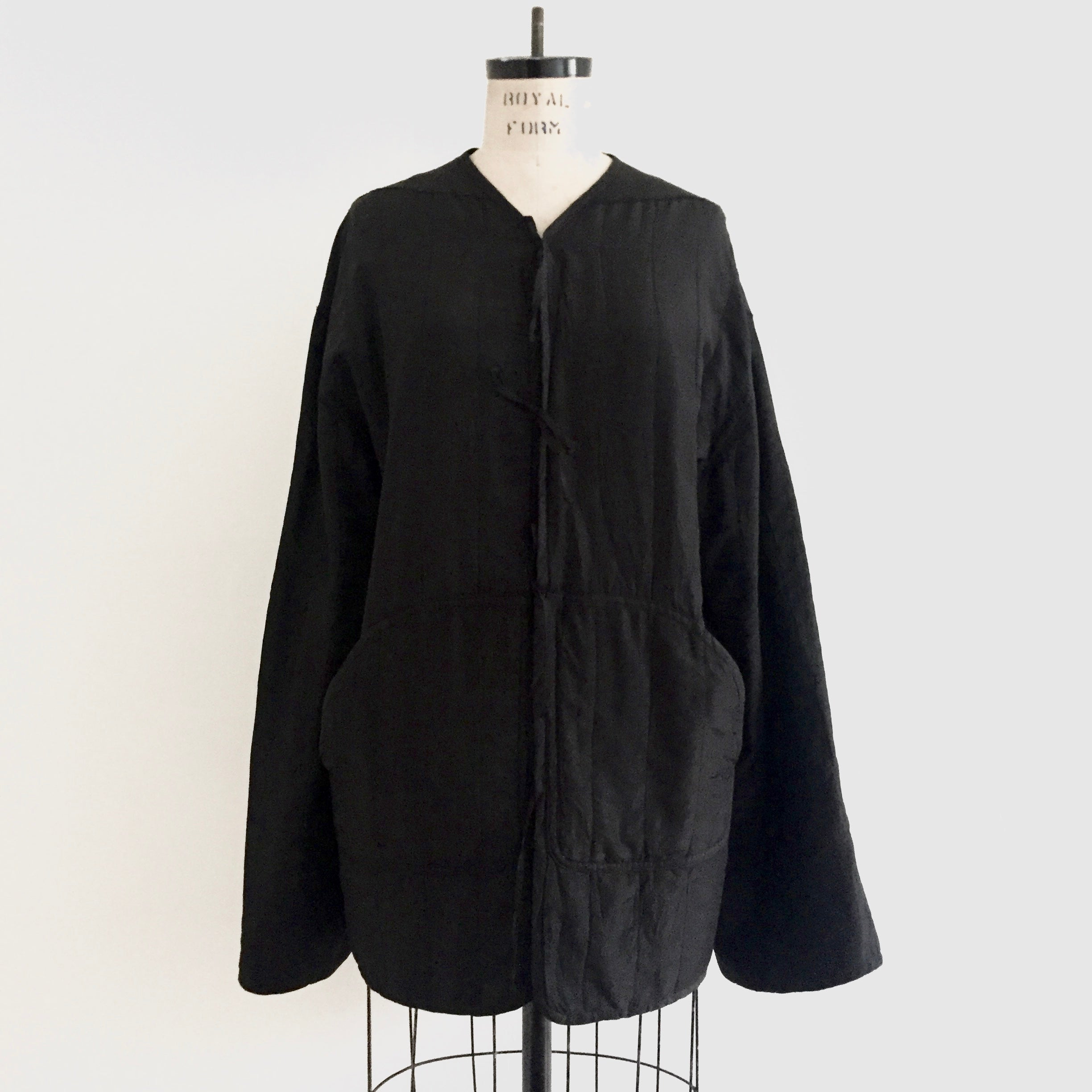 "agender |  quilted silk, "" tao "" liner jacket with coordinating amice...black...made by order"