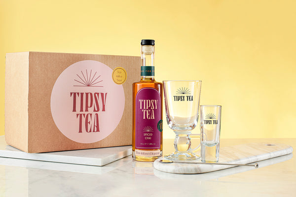 Tipsy Afternoon Tea Gift Set with Glass Measure and Tea Liqueur