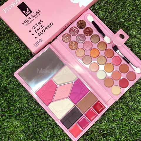 Miss Rose UFG make up 35 Eye shadows complete kit with mirror and brushes Ultra face glowing