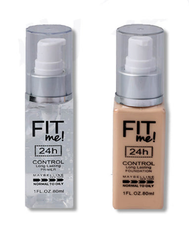2in1 Maybelline New York Fit me Foundation & Primer 24H normal to oily for professional makeup