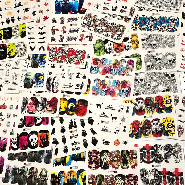 48 Skull/Halloween nail decals