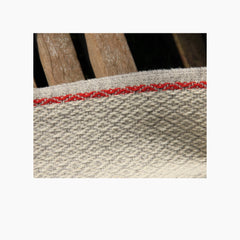 Detail of one of the patterns of poncho Serra da Estrela, next to the pattern you can see the red selvedge listing